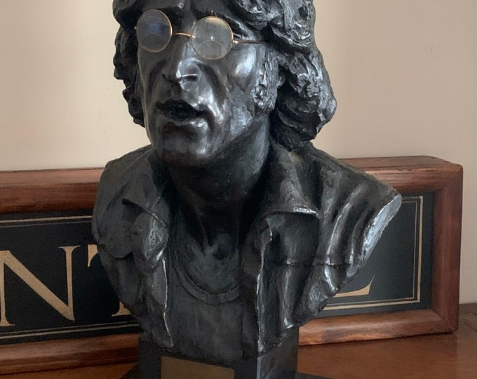 Large Bronzed Resin Bust Of John Lennon Wearing Wire Rimmed Spectacles By The Sculpture John Somerville