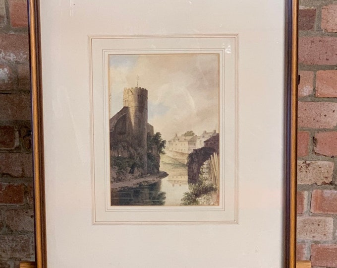 Original Framed and Glazed 19th century Watercolour of a Castle and River Scene