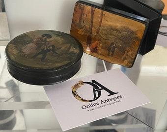 Two Antique Black Papier Mache Snuff Boxes Depicting Georgian Scenes