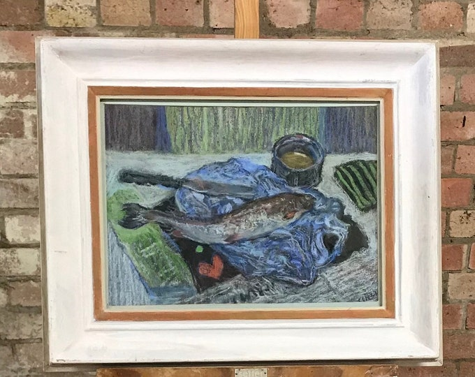 Framed And Glazed Pastel Titled 'Still Life With Mackeral' By Cinzia Bonada RBH HH