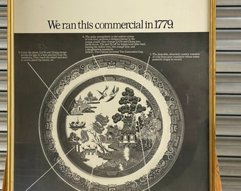 Vintage Framed Quality Poster Size Print Of History Of The Willow Pattern Plate
