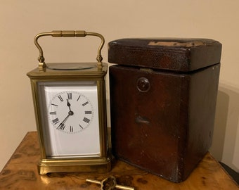 Beautiful Brass 19th Century Carriage Clock, Marked SFRA With Leather Case & Key