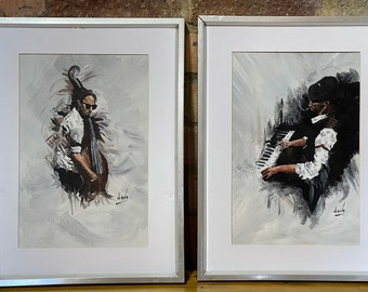 Pair Of Contemporary Oil Paintings Of Jazz Musicians Signed by the artist 'Dave'
