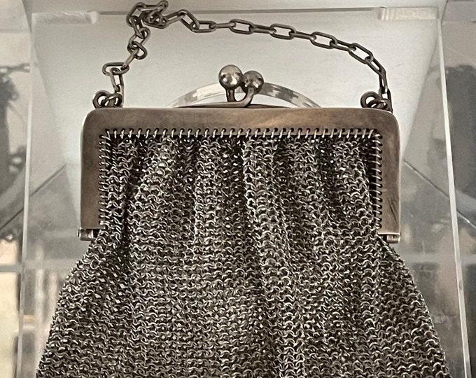 Wonderful Circa Late 19th Century Antique Silver Chain Mail Evening Purse Bag