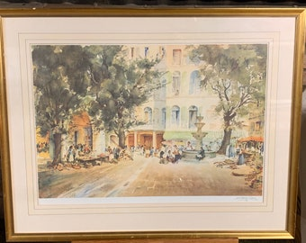A Wonderful Large Print Of A Continental Piazza Scene Signed By A William Brown Lower Right and Embossed Lower Left