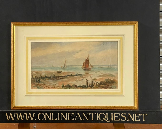 Antique Watercolour Seascape Dated 1909 By E A Holroyd