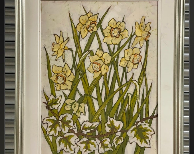 Beautiful Vintage Batik Painting Of Daffodils By Gareth Medley