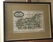 Framed Glazed Rare Jacques Bellin 39 s Antique Hand Coloured Engraving Map of St Lucia - Dated 1758