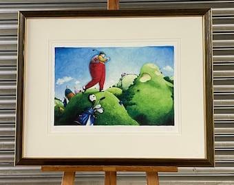 Superb Paul Hess Large Signed Ltd Edt Giclee Print 'BELOW PAR' Golf Interest