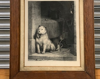 Framed & Glazed 1870's Engraving After Landseer Titled 'Low Life' Which Depicts a Dog Sheltering in a Doorway