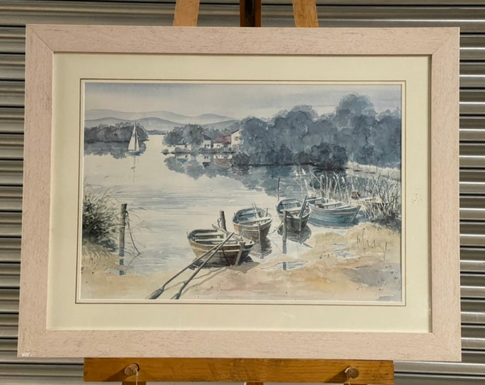 Beautiful Large Framed Boating Harbour Landscape Print By Franz Heigl