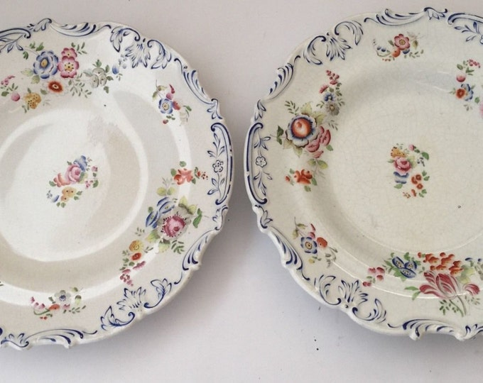 Pair Of Charles Meigh Porcelain Opaque Plates c1840