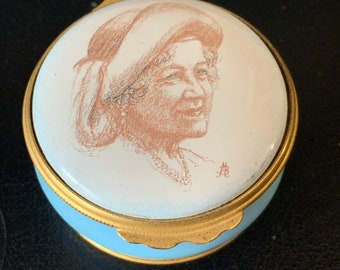 Halcyon Days Enamels Trinket Box -  A Tribute to the Queen Mother on Her 90th Birthday, 4th Aug 1990