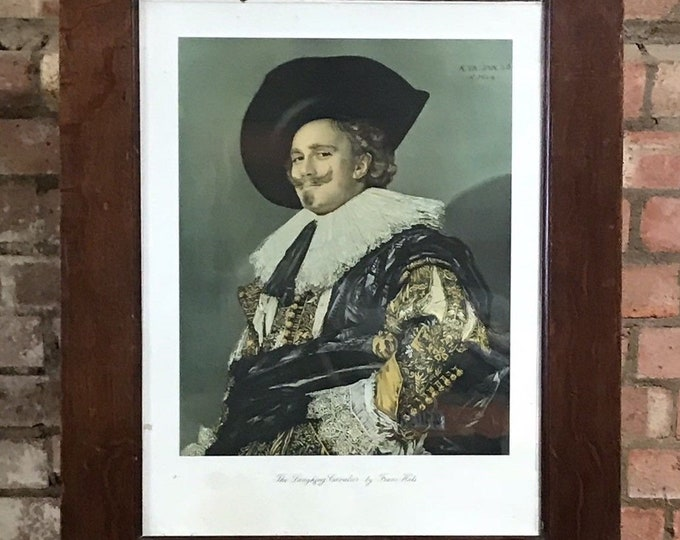 Antique Framed 19th Century Coloured Etching Laughing Cavalier By Frans Hals