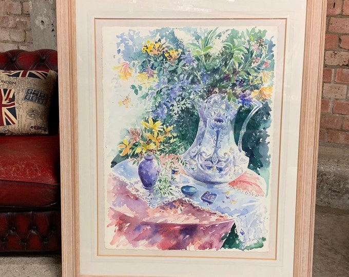 Stunning Large Original Still Life Floral Watercolour by Diana Winkfield
