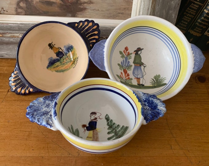 Three Vintage HB Quimper Hand Painted Twin Handled Bowls