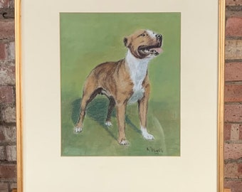 Stunning Original Pastel Drawing of a Staffordshire Bull Terrier by the Artist Arthur Wardle