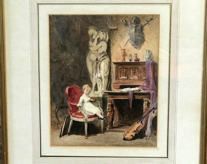 Beautiful 19th Century Watercolour by John Absolon of a Young Child Sat on a Parlour Chair