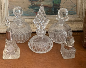 Vintage Cut Glass Perfume Bottles - Two With Silver Collars circa early 1900's - 1930's