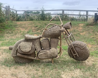 Lovely Vintage Wicker Harley Davidson Motorbike - Unique Item For The Home or a Shop Display