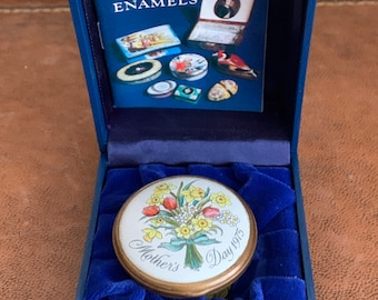 Rare Halcyon Days Enamels Bilston & Battersea Mother's Day 1975 Trinket Box with Presentation Box
