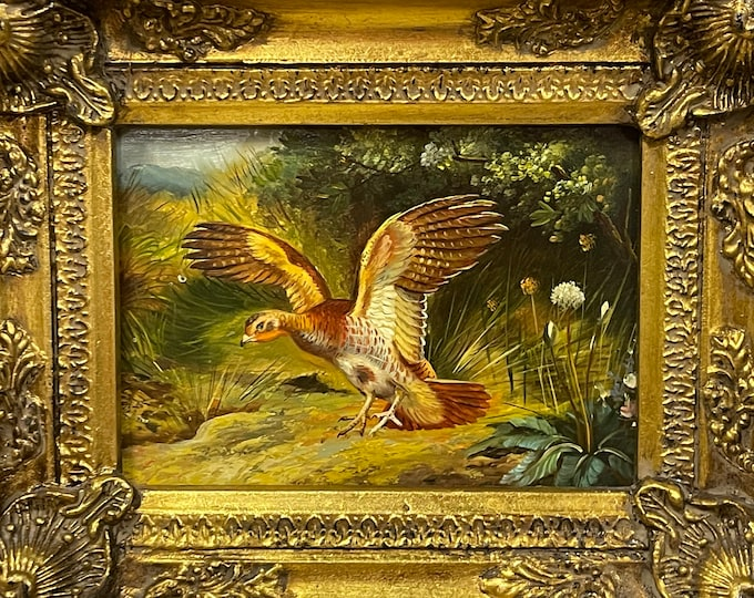 Beautiful Small Vintage Framed Oil Painting On Board Of A Grouse Landing in the Undergrowth