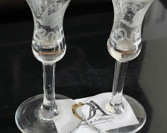 Pair Of Perfect 19th Century Etched Wine Glasses