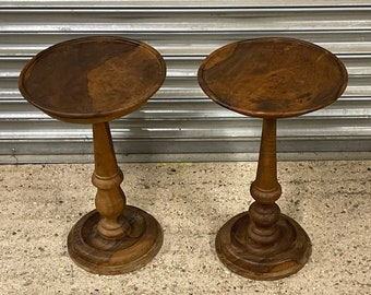 Beautiful Pair Of Turned Yew Wood Wine Tables
