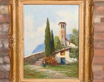 Fabulous Original Oil Painting Of Santa Chiara Lago Iseo Italy, Italian Lakes By V Rotini
