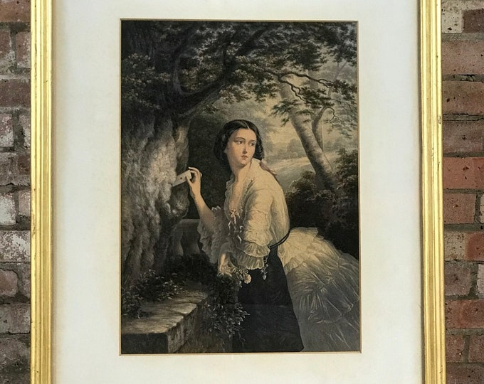 Hand Coloured George Baxter Engraving 'The Lover's Letter Box' 1856