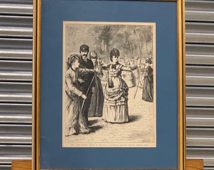 Original Framed And Glazed Engraving 'The Ladies Archery Match in the Royal Toxophilite Society's Grounds, Regents Park' circa 1870