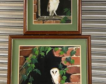 Pair Of Original Paintings Of Barn Owls By The Artist Lee J Waring Dated 1993.