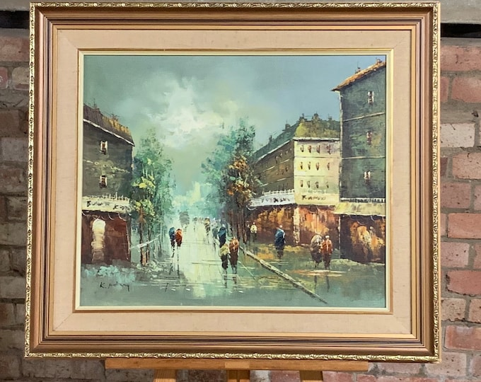 Large Original Impressonist Oil Painting Of A Parisian Scene By K Polary