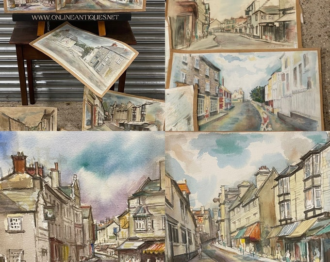 Selection Of 10 Original 1970's Watercolours By R Russell Looks To Be The Lake District Area, Possibly Hawkshead