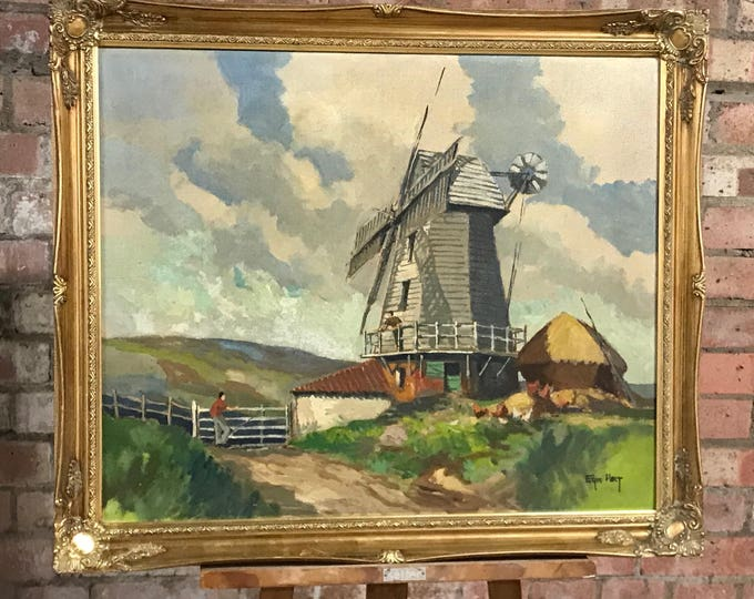 Fabulous Eric Holt Oil Painting Titled Windmill In An Ornate Gilt Frame