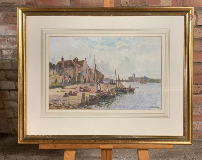 Lovely Gilt Framed And Glazed Print Of A Harbour Scene By Stuart Lloyd and Dated 1904