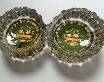 Beautiful 18th Century Cut Glass and Gold Leaf Salts