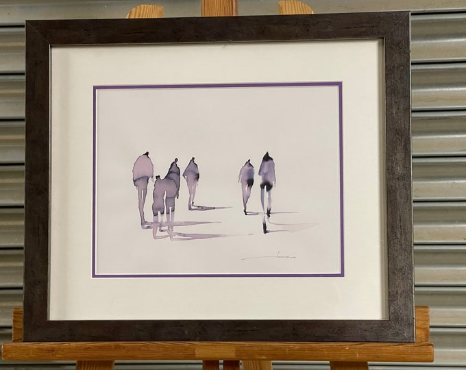 Fabulous Original Atmospheric Watercolour Depicting Figures Indistinctly Signed Lower Right