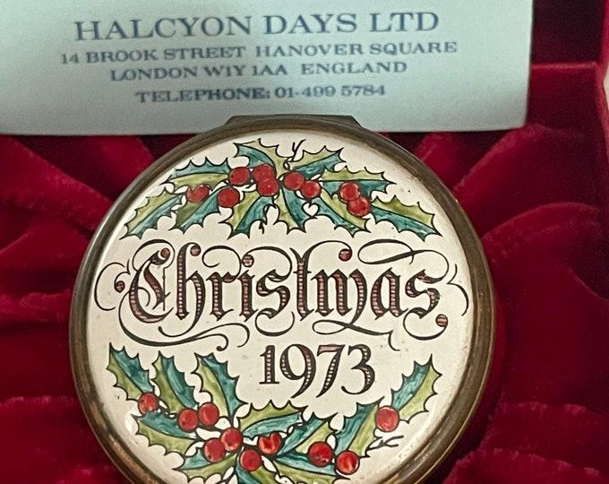 Rare Bilston and Battersea Halcyon Days Enamels 1973 Christmas Trinket Pill Box