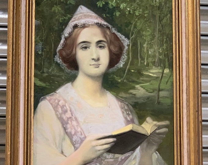 Beautiful Original Portrait In Pastel of A Young Lady Reading a Book, Signed Henri Marchal Dated 1911