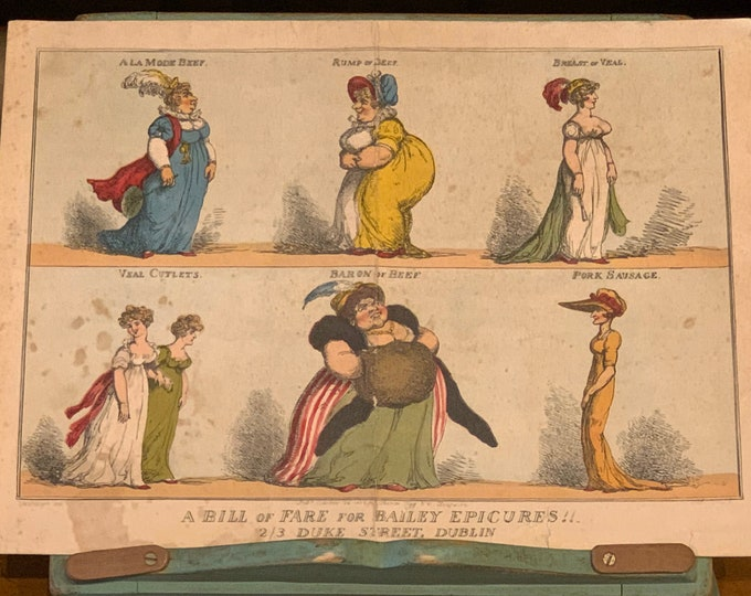 Old Menu Card From The Bailey Dublin, Reproducing Thomas Rowlandson's Engravings 1757-1827 after the artist Woodward