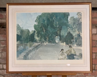 Large Sir William Russell Flint Embossed Limited Edition Print, Titled 'The Basket of Apples, Brantome' France