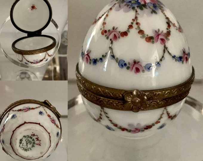 Beautiful Vintage Limoges France Ancienne Manufacture Royale Hand Painted Egg