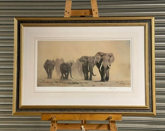 Large Limited Edition Print Of Elephants Titled 'Dust Storm' After Anthony Gibbs