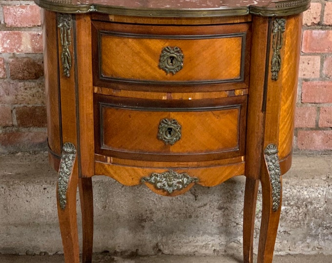 Antique French Kidney Shaped Table With Ornate Brass Mounts & Marble Top