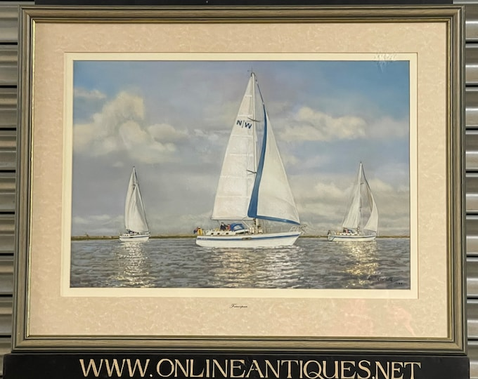Stunning Original Pastel Seascape Artwork By Edward J Cordell Titled Francipam
