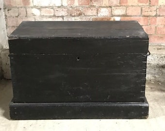 Large Heavy Vintage Blackened Pine Chest With Carrying Handles