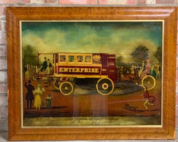 Superb Framed Reverse Glass Study Of 'The Enterprise', Steam Omnibus