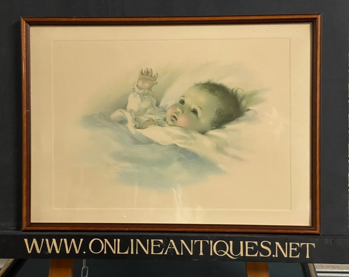 Original Vintage Bessie Pease Gutmann Lithograph Titled 'Awakening Baby'