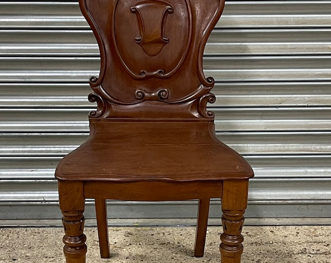 Handsome Victorian Mahogany Hall Chair With Armorial Carved Back circa 1880's